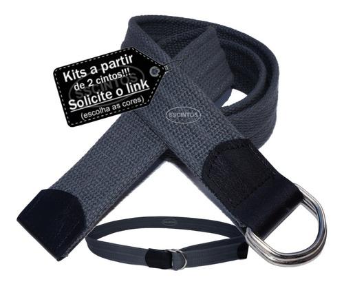 kit 2 cintos masculino lona premium c/ argola 4,0cm ref l47