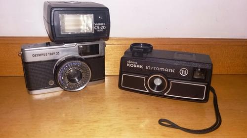 kit 2 câmeras fotográficas kodak e olympus e 1 flash yashica
