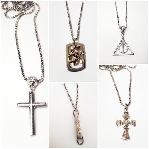 kit 2 colar cordão de corrente masculino feminino metal
