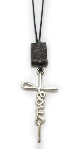 kit 2 colar cordão masculino jesus fé