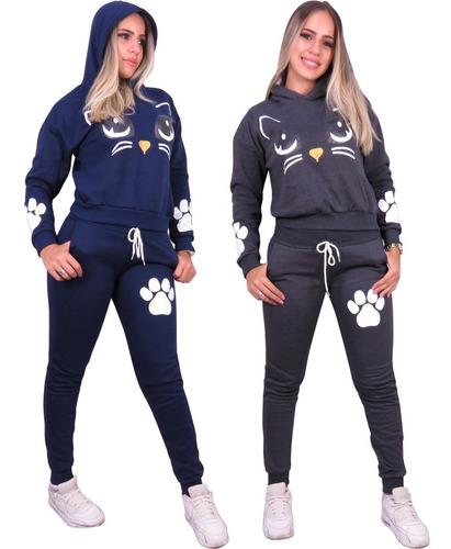 kit 2 conjunto atacado de moleton gatinho gatinha feminina
