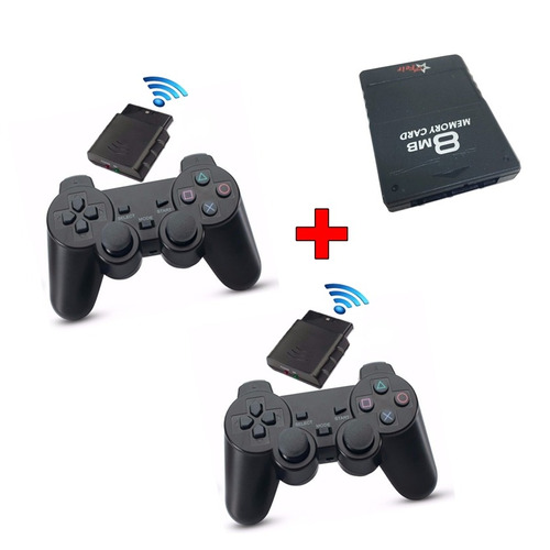 kit 2 controle playstation 2 sem fio memory card 8mb sfi