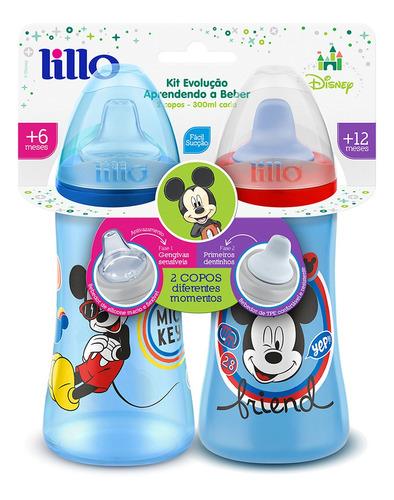 kit 2 copos colors bico de silicone disney mickey azul lillo