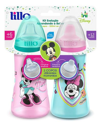 kit 2 copos colors bico de silicone disney minnie rosa lillo