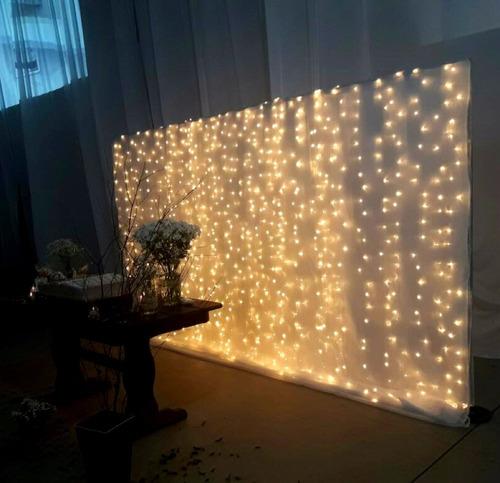 kit 2 cortina 500 leds branco quente 2,80m x 2,50m m/f