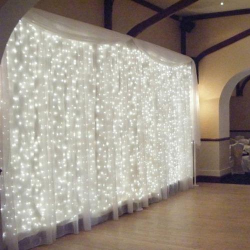 kit 2 cortina led com 500 leds fixos 2,8m x 2,5m 220v festas