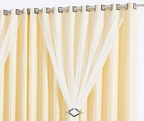 kit 2 cortinas 3 e 4 metros forro varão simples tabaco e+