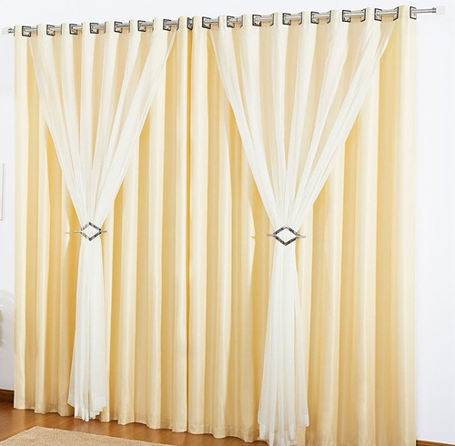 kit 2 cortinas 4 metros sala quarto vison voil tabaco e+