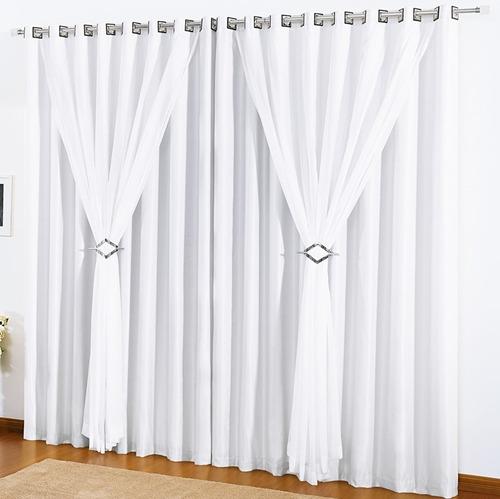 kit 2 cortinas salas quartos 4,00x2,80 vison voil branca e+