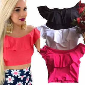 00b21e899012 Cropped Ombro A Ombro Ciganinha Florido - Camisetas e Blusas Cropped Preto  com o Melhores Preços no Mercado Livre Brasil