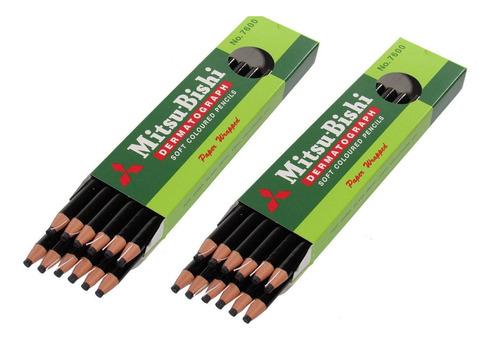 kit 2 cx lápis dermatográfico mitsubishi 7600 preto 24 unid