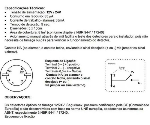 kit 2 detector de incêndio óptico fumaça 12v 24v segurimax
