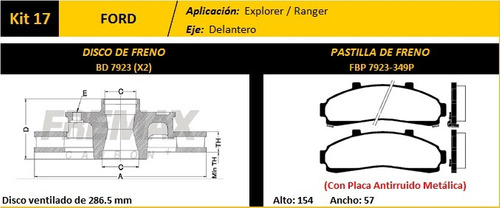 kit 2 disco + pastilla freno fremax ford ranger 4x2 97-2012