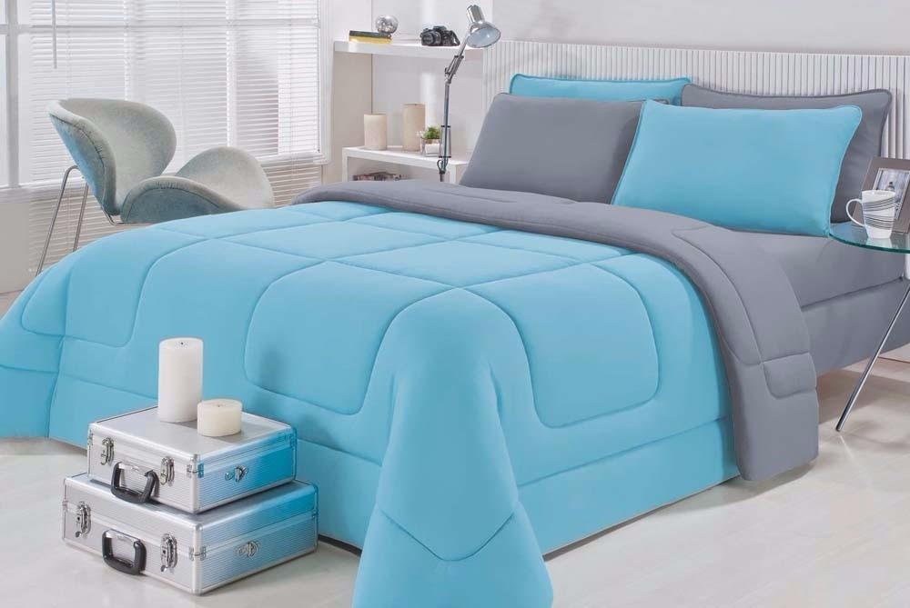 695d7ae3d6 Kit 2 Edredons Solteiro Dupla Face 100%algodão Azul Cinza - R  239 ...