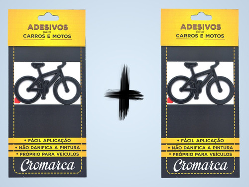 kit 2 emblemas alto relevo 3d 3m auto bike bicicleta preto