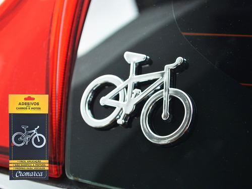 kit 2 emblemas alto relevo 3d 3m auto bike cromado e preto