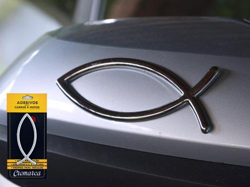 kit 2 emblemas alto relevo 3d 3m auto peixe evangelico gde
