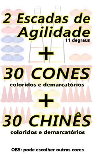 kit 2 escadas + 30 cones + 30 pratos chinês half agilidade