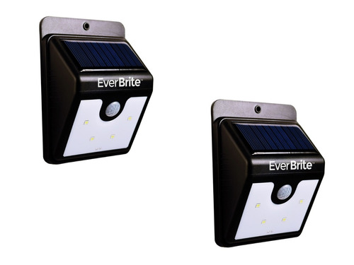 kit 2 ever brite luz lampara led sensor movimiento solar 2x1