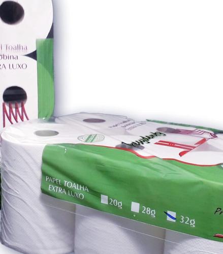 kit 2 fardos papel toalha bobina 32gr - 12 rolos - 200m cada