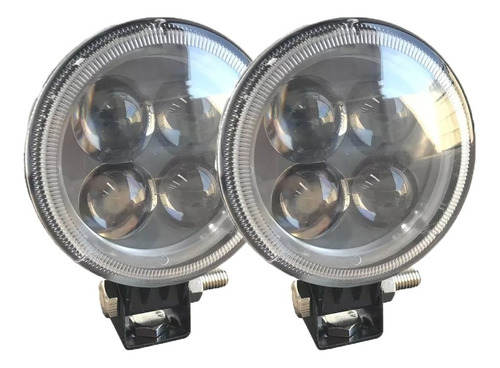 kit 2 farol milha redondo 12w 12v/24v jeep off road