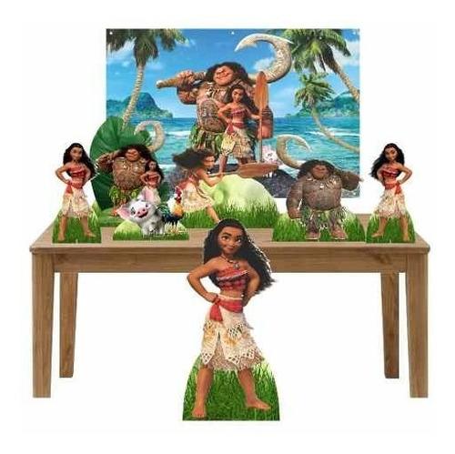kit 2 festa totem display 7 peças moana painel 150x100cm