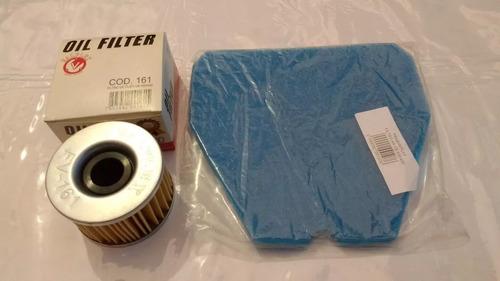 kit 2 filtro ar e óleo motor honda cb 400 450