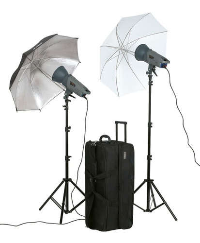 kit 2 flash estudio 300w visico sombrillas tripodes valija