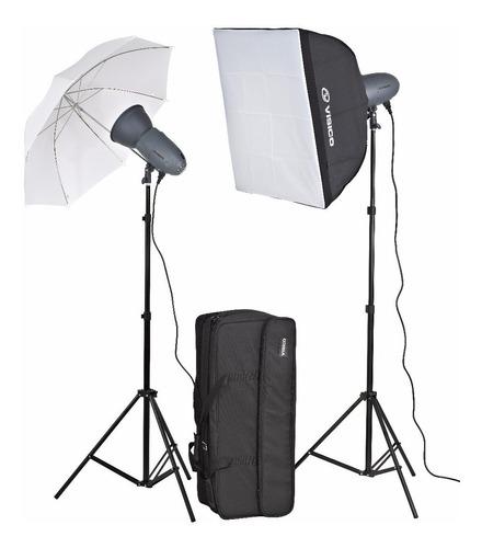kit 2 flashes estudio visico vl 200w soft+ sombrilla + bolso
