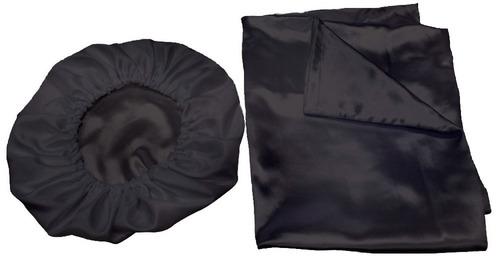 kit 2 fronhas 50x70 +2 touca de cetim anti frizz - promoção