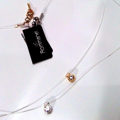 kit 2 gargantilha rommanel dourada prateada ponto luz nylon