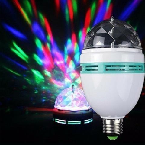 kit 2 globo luz led colorido giratório bocal bola maluca dj
