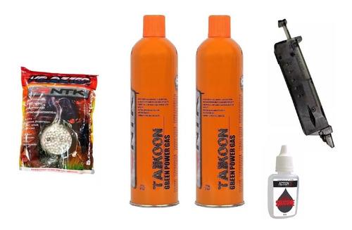 kit 2 green gas airsoft + speed loader +1pc bbs 0,20g+ oleo