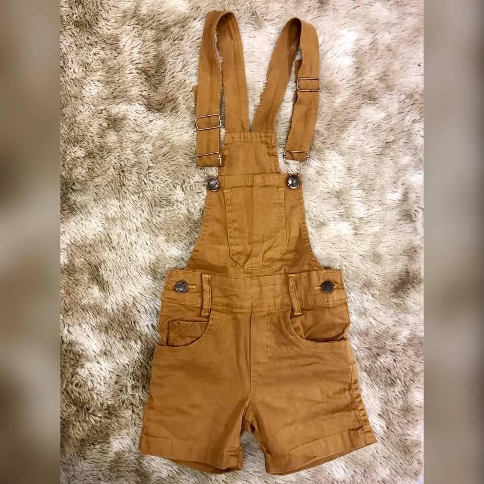 2a8d9f4b7628ef Kit 2 Jardineira Macacão Infantil Jeans Colorida Menino