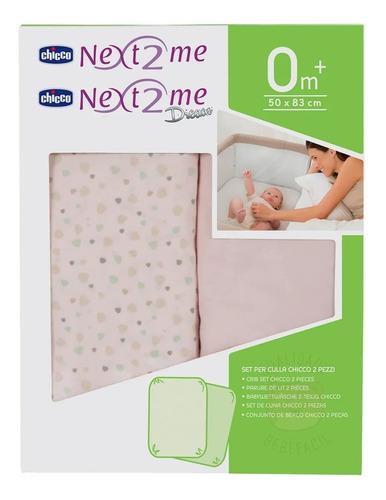 kit 2 lençóis para berço next2me miss pink (0m+) chicco