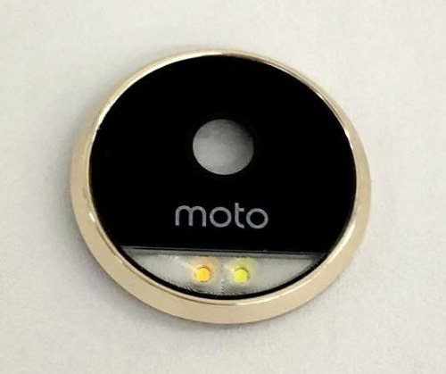 kit 2 lentes + aro + flash camera moto z force dourada