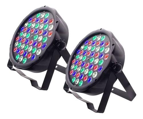 kit 2 luz led par 64 rbgw 54 leds 3w dmx digital strobo