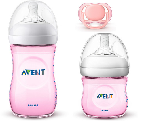 kit 2 mamadeiras anticólia pétala - avent + chupeta rosa