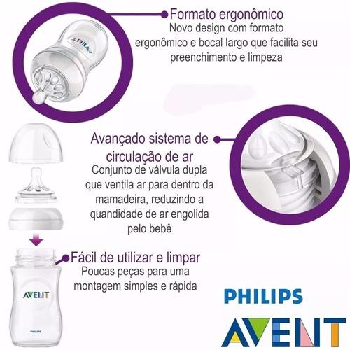 kit 2 mamadeiras anticólica pétala - philips avent branca