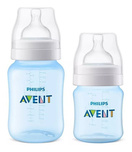 kit 2 mamadeiras avent classic anticolica 125ml e 260ml
