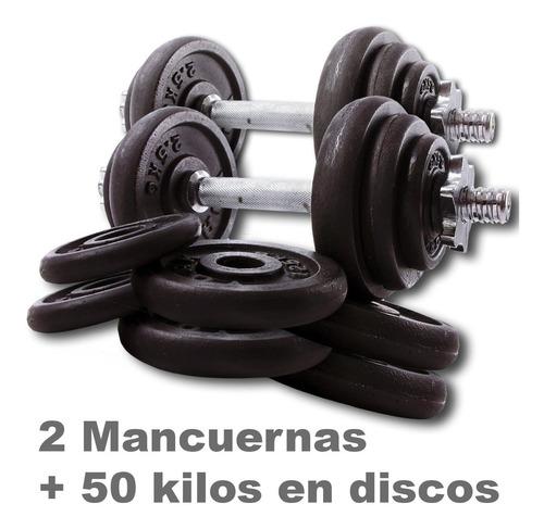 kit 2 mancuernas roscadas + 50 kilos en discos de fundicion
