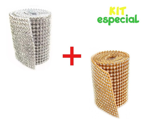 kit 2 manta de strass original prata e dourada 10x45