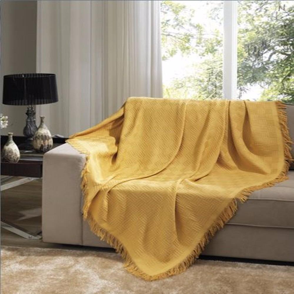 Kit 2 mantas para sof dohler grande e pequena amarela for Mantas para sofas