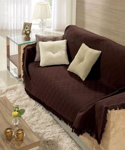 kit 2 mantas para sofá dohler grande e pequena marrom