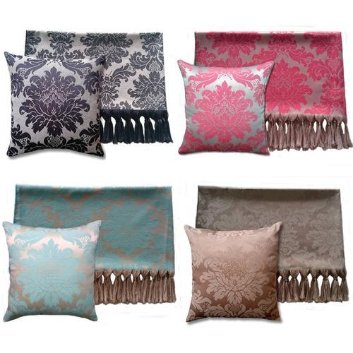 kit 2 mantas para sofá em jacquard + 8 capas de almofada
