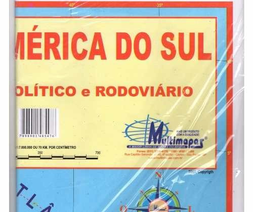 Kit 2 Mapas America Do Sul E Mapa Mundi 120 X 90 Cm  R 2990 em
