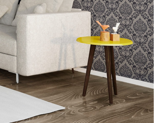 kit 2 mesas centro e lateral retrô brilhante - várias cores