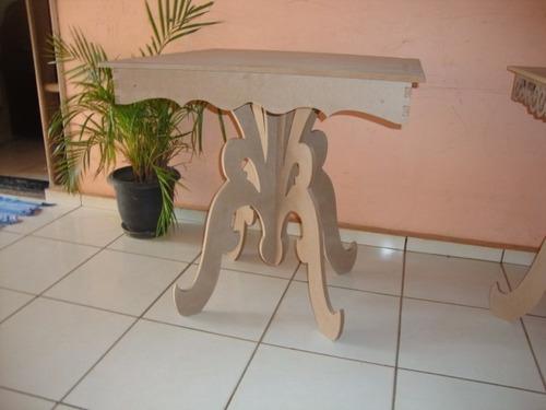 kit 2 mesas provençal arabesco mdf cru 15 mm festa decoração