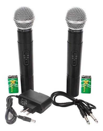 kit 2 microfone sem fio duplo wireless vhf karaokê igreja