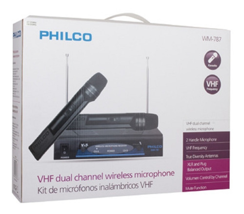 kit 2 micrófonos inalambricos control volumen philco wm-787